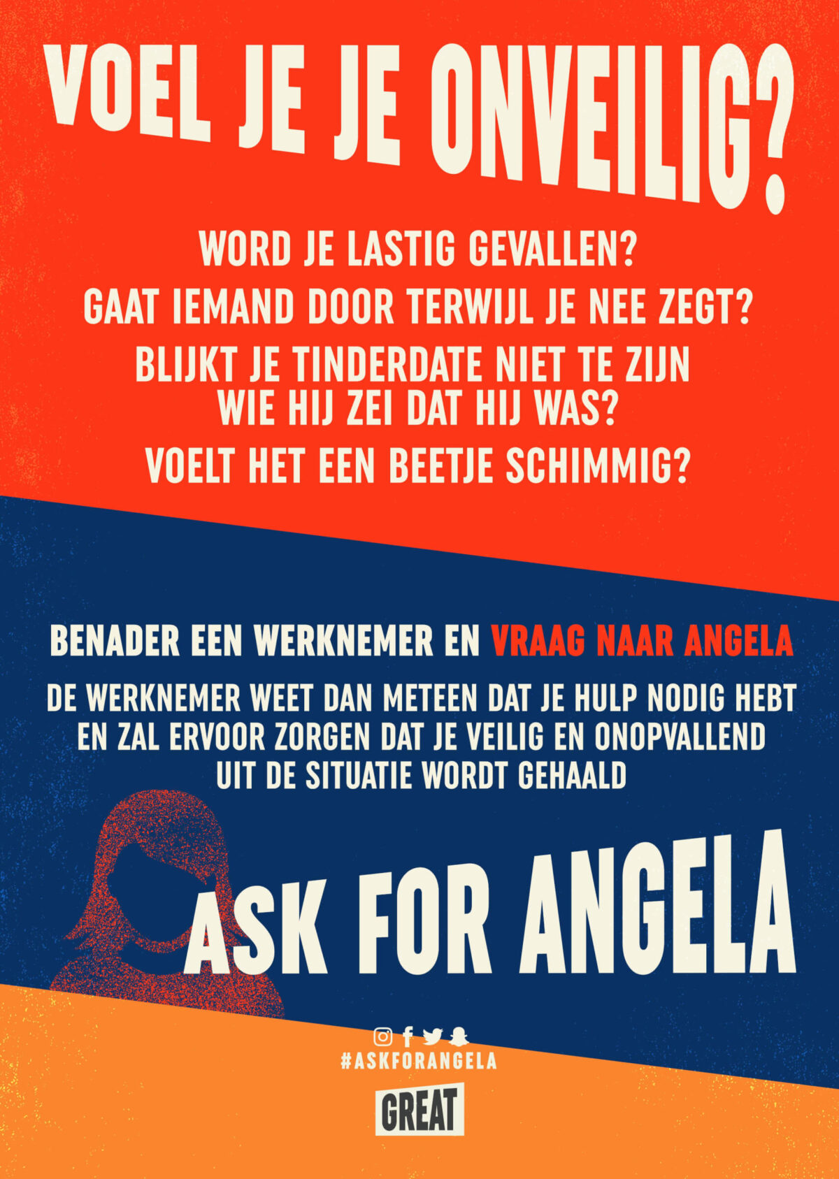 Ask for Angela (poster) - sexinstimidatie - event inspiraiton
