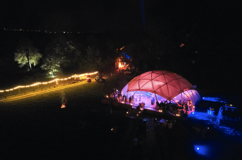 bamboo - tent - organic concept - Wooden Flat Dome by night 1