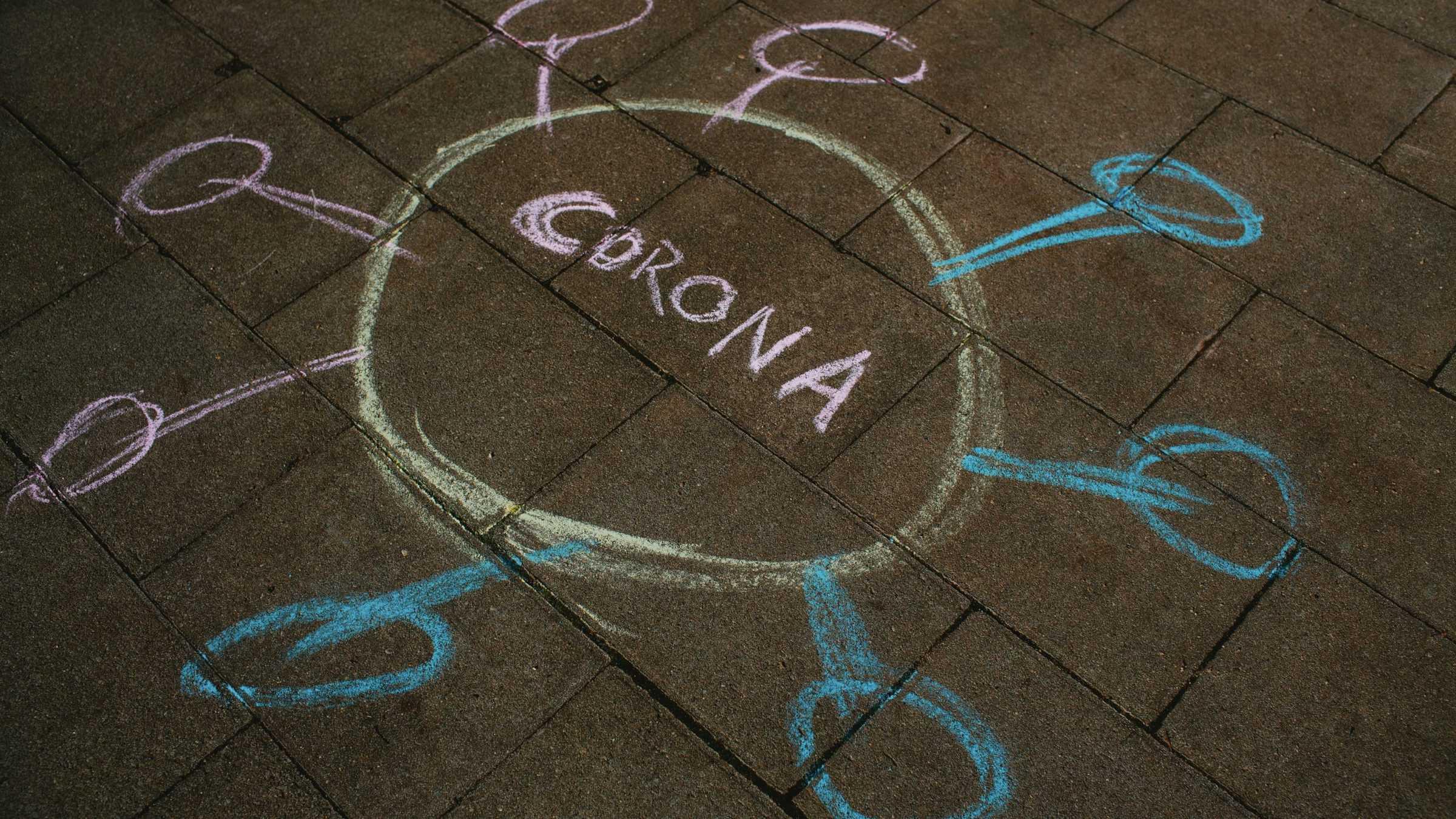 Corona - virus - stoepkrijt - tekening