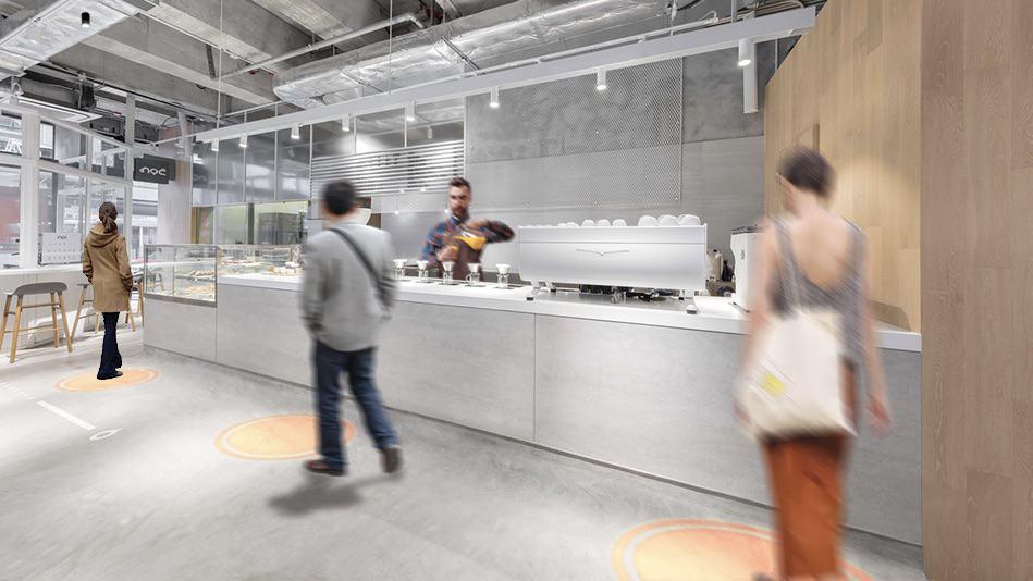 InventDesign - projectie - licht - anderhalvemeter - coronaproof - events - museum - bezoekers - traffic light bars - buffet - catering