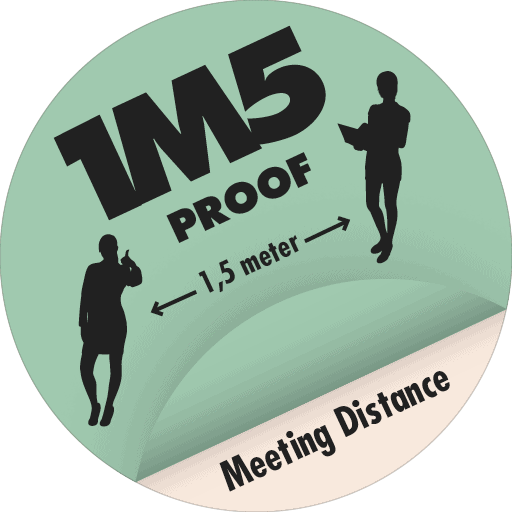 1M5 Proof - one meeting - label - veilig - anderhalve meter - meeting distance