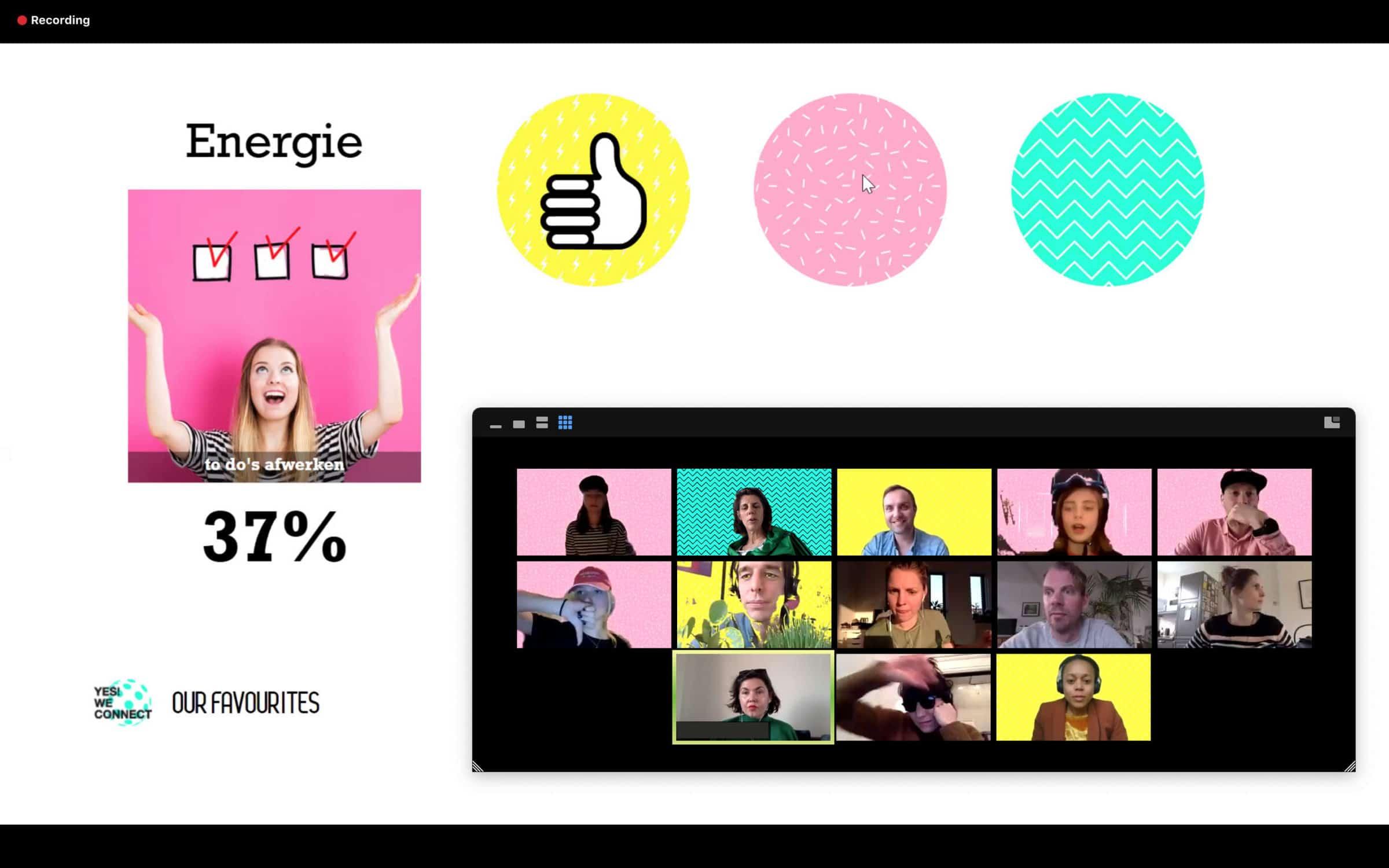 Online dashboard met veel kleur en uitslag van polls die bekeken worden met medewerkers in beeld op online platform Yes! We Connect - Event Inspiration