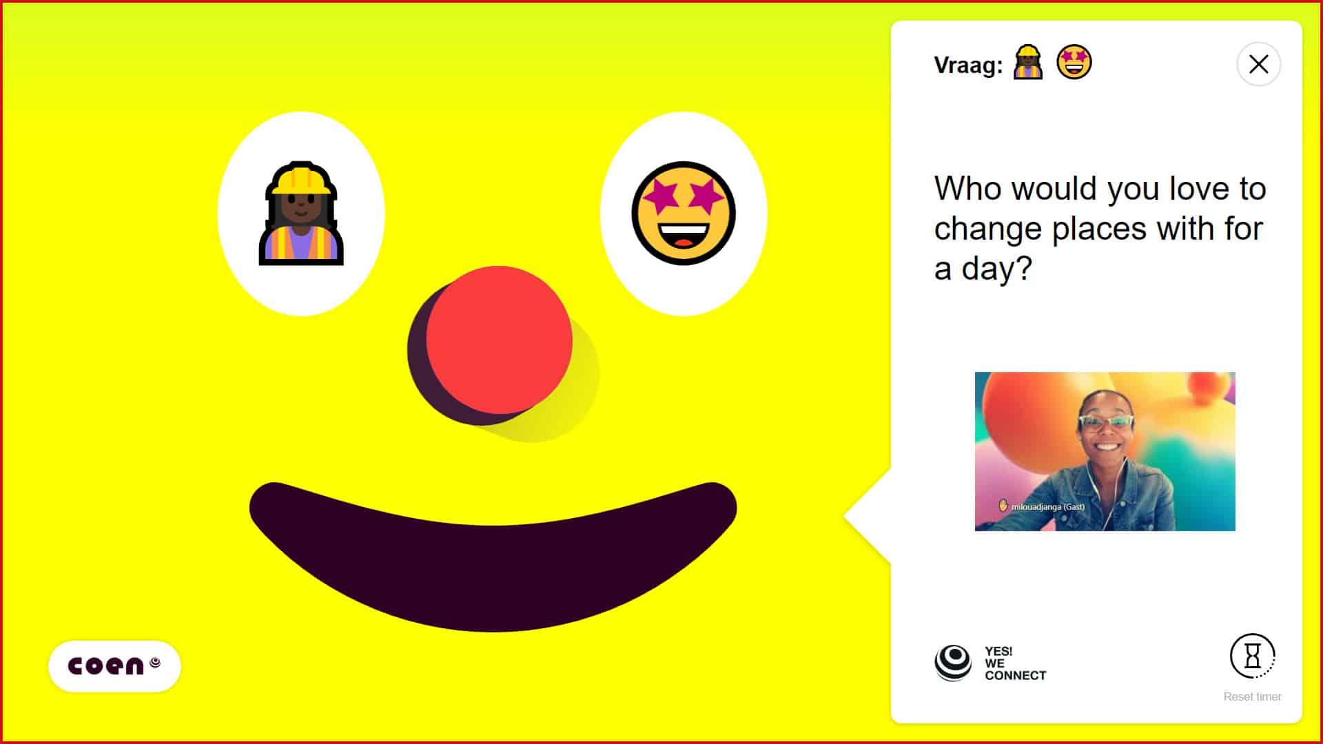 Yes! We Connect online event met moderator en gele smiley COEN voor interactie tussen medewerkers - Event Inspiration