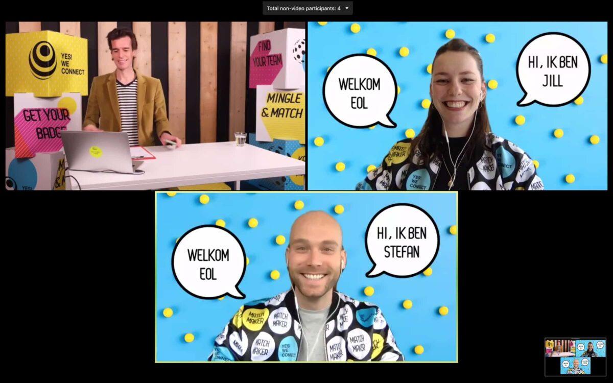 Yes! We Connect online event voor medewerkers inclusief presentatoren met gekke jasjes en tekstballonnen