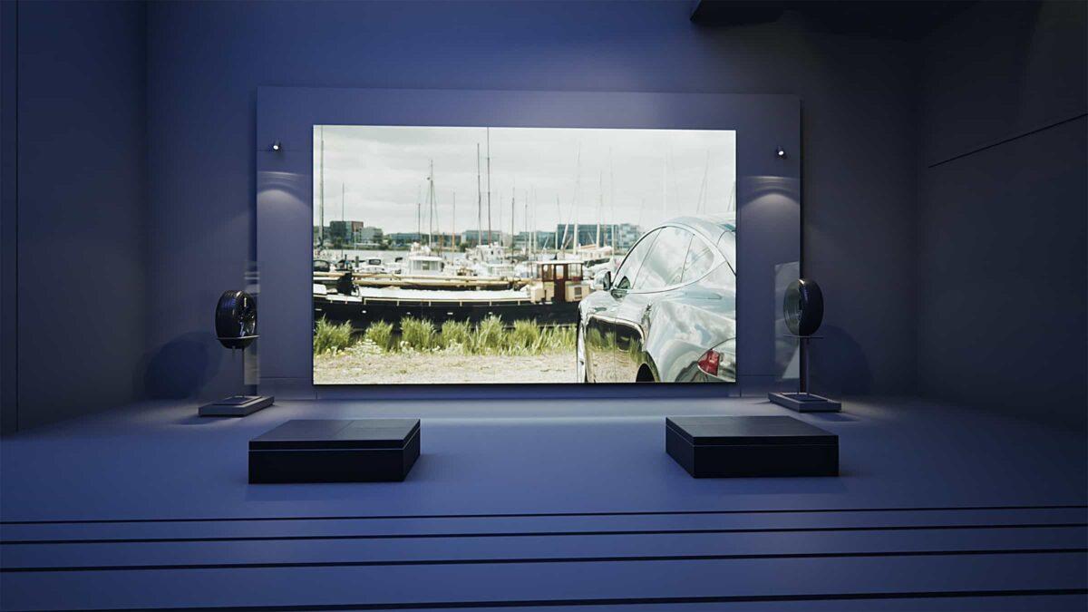 Event Inspiration - Vredestein 3D-design museum van Vredestein met scherm met auto en boot erop