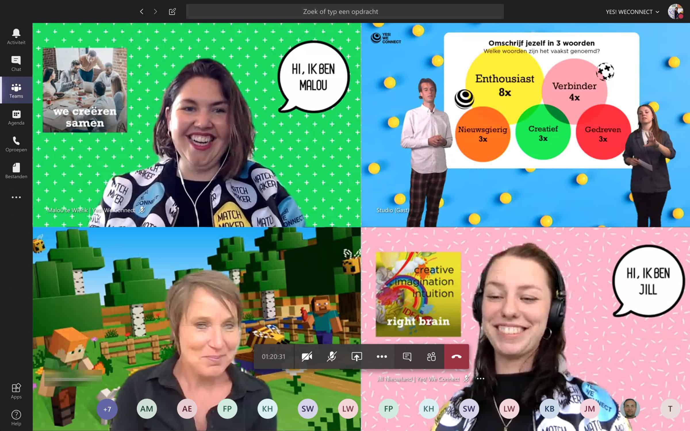 Yes! We Connect online event voor medewerkers inclusief moderator en gekke achtergronden - Event Inspiration