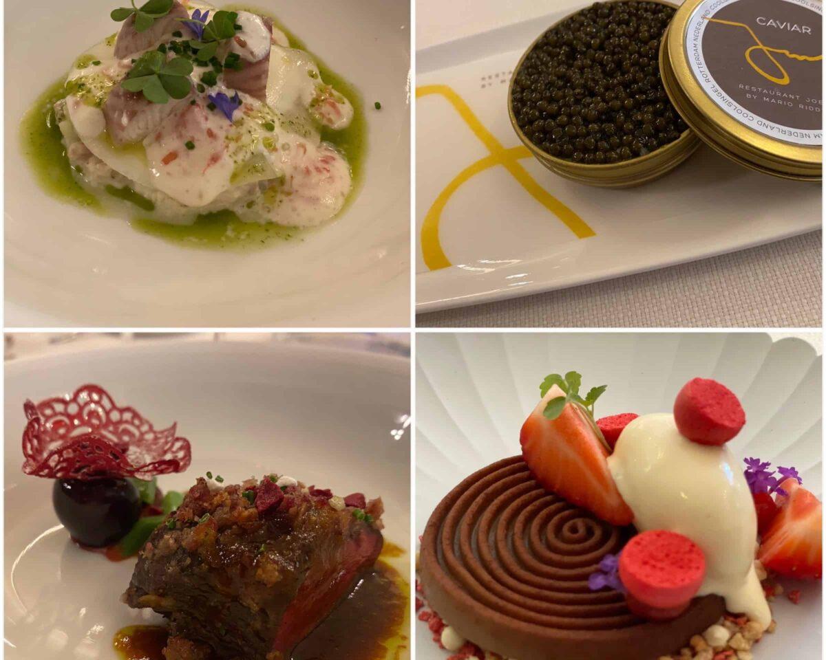 Gerechten tijdens Chefs table on board diner met 6 Michelinsterren bij Blue Raphsody