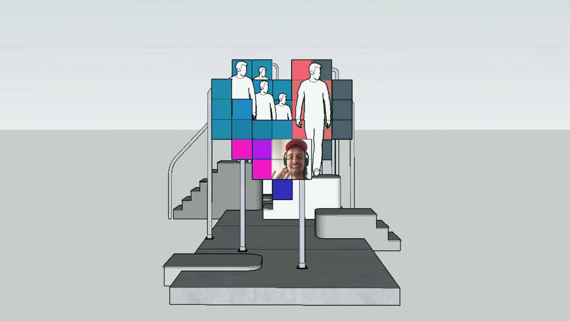Kunstinstallatie Aldo brinkhoff met gekleurde schermen met mensen op trappen en een scherm met live beeld van Aldo