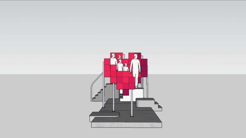 Kunstinstallatie Aldo brinkhoff met rode schermen met mensen op trappen en de schermen vormen een hart