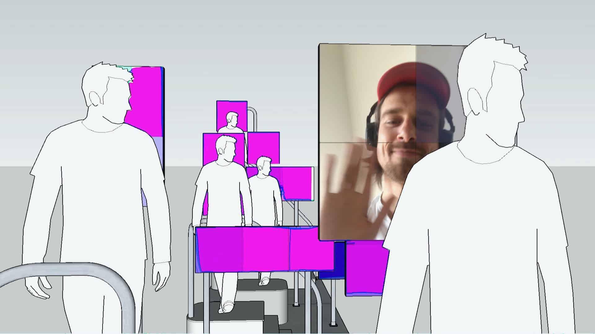 Kunstinstallatie Aldo brinkhoff met roze schermen met mensen op trappen en een scherm met Aldo