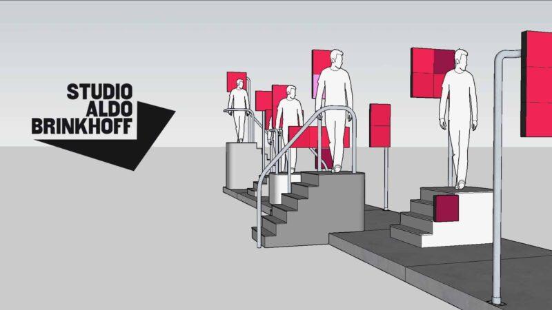 Kunstinstallatie Studio Aldo Brinkhoff met rode schermen met mensen op trappen