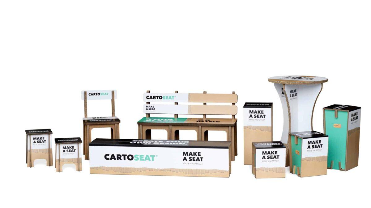 Cartoseat collectie met banken, statafels, krukjes en stoelen