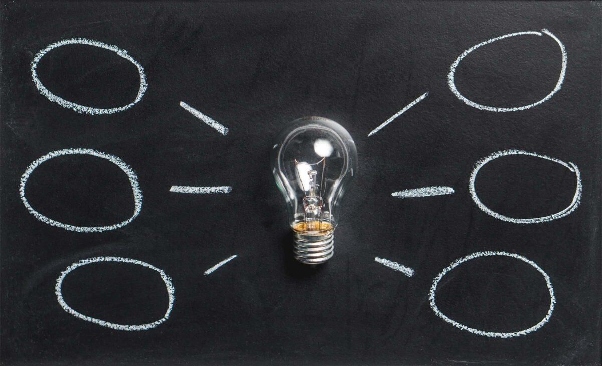 Lamp met 6 rondjes eromheen die ideeen moeten voorstellen