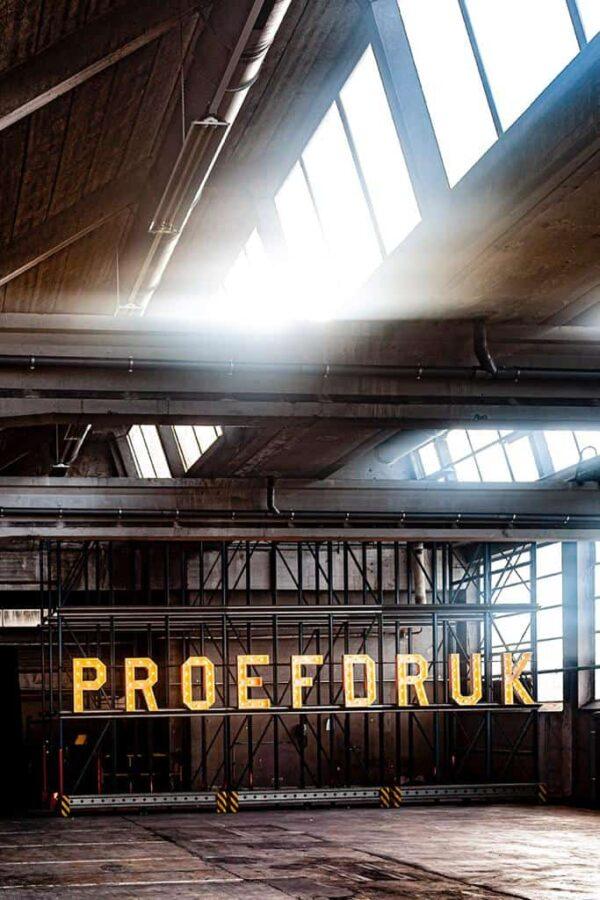 Letters proefdruk in een verlaten Papierfabriek Nijmegen
