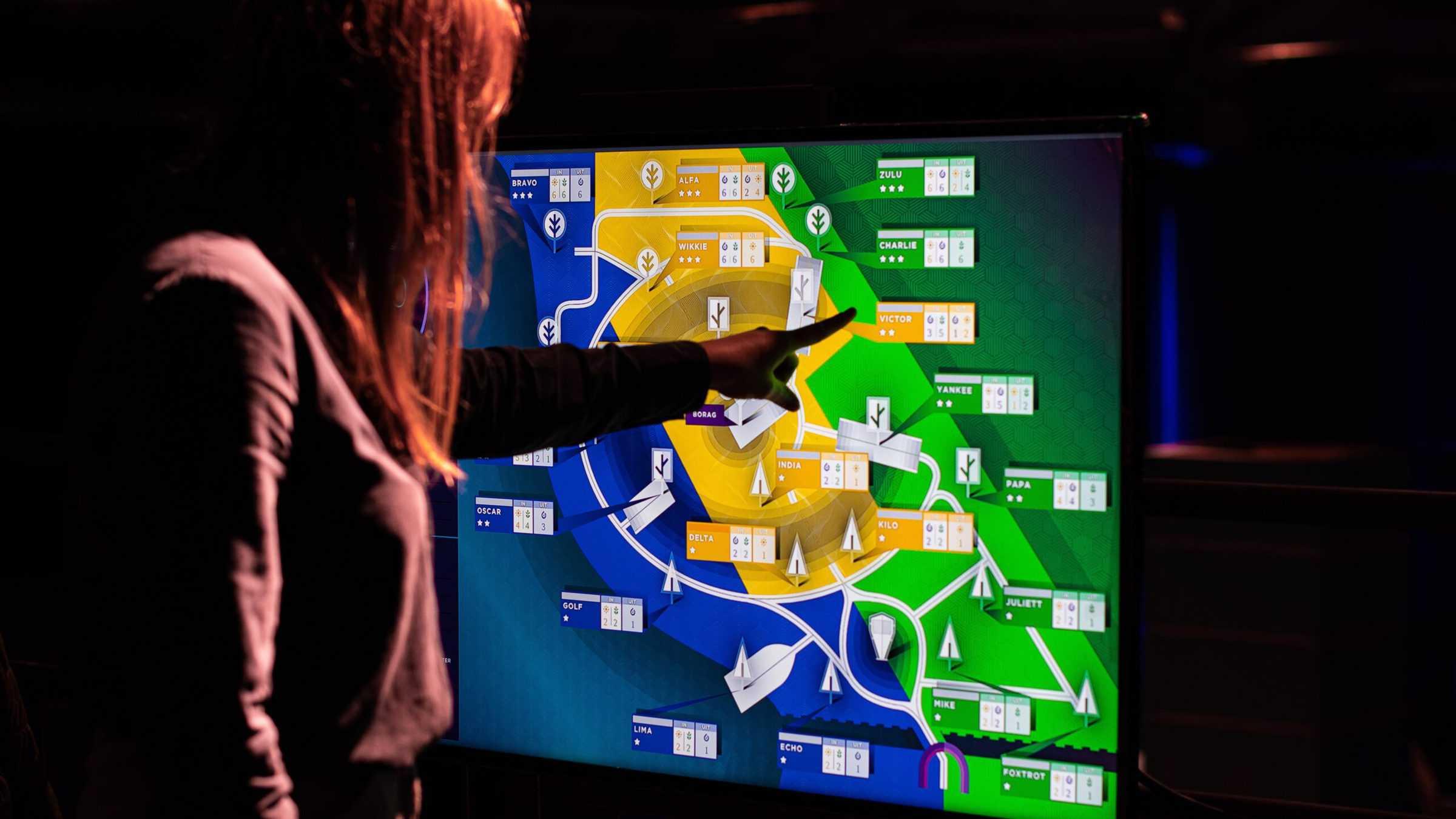 Moon Trees spel bij de Kartfabrique met een touchscreenpaneel met diverse kleuren en namen van spelers erop