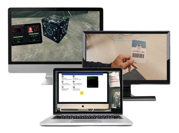 3 beeldschermen met aanwijzigingen voor een escaperoom