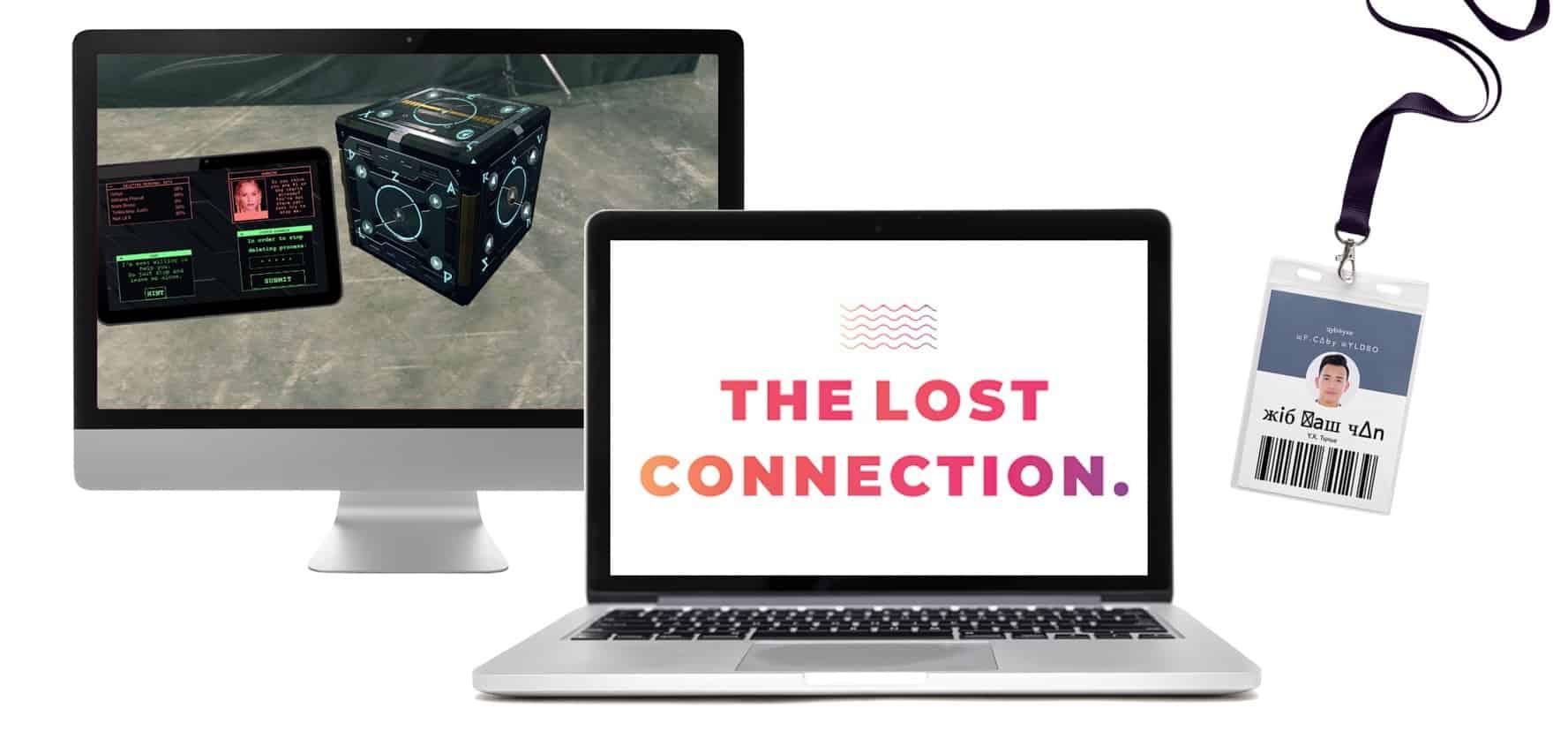 Escape room the lost connection - 2 beeldschermen en een namebadge