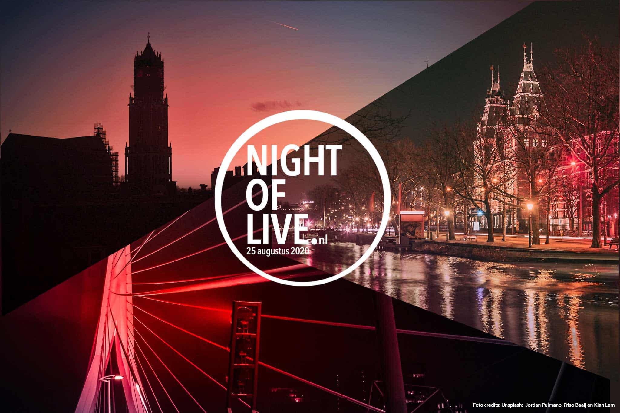 Night of Live 2020 - rood verlichte gebouwen