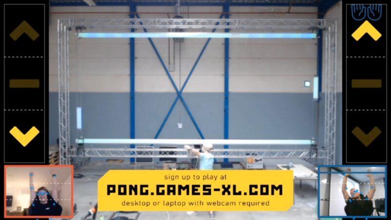 Physical Pong spel digitaal tijdens hybride event battle tussen bezoeker en iemand online-