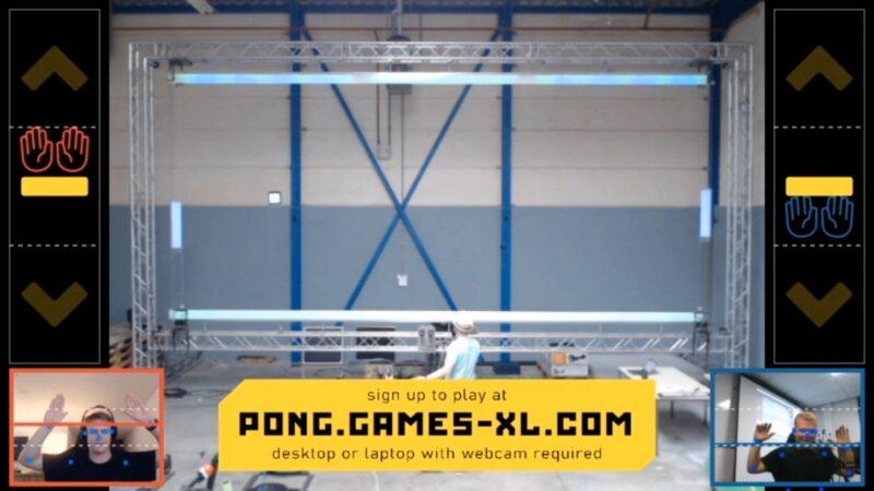 Physical Pong spel digitaal tijdens hybride event battle tussen bezoeker en iemand online