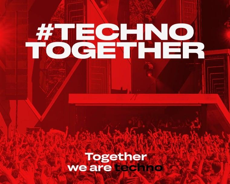 #technotogether Rode foto met feestende mensen bij techno festival Awakenings