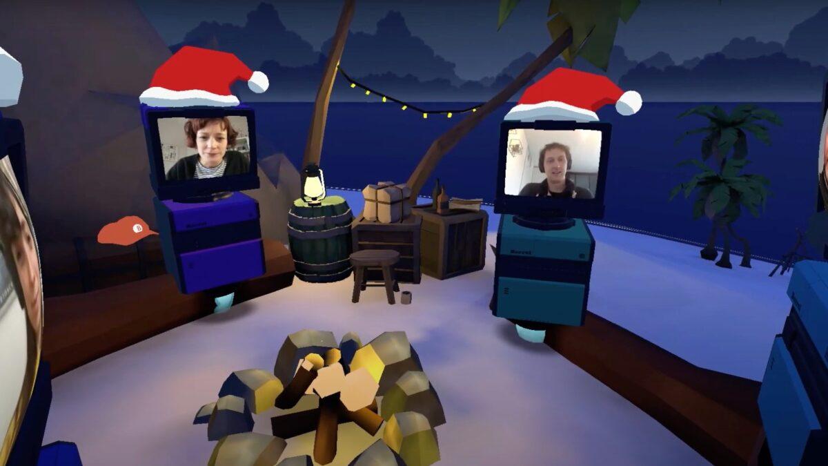 Mibo virtuele wereld borrel bij kampvuur met poppetjes met schermen van de bezoekers