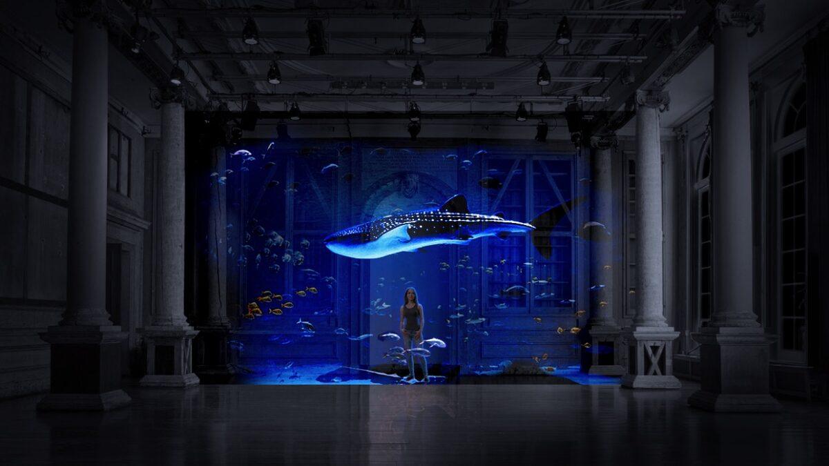 Projectie van walvis in aquarium van Mr Beam in Zuilenzaal van Felix Meritis Amerpodia