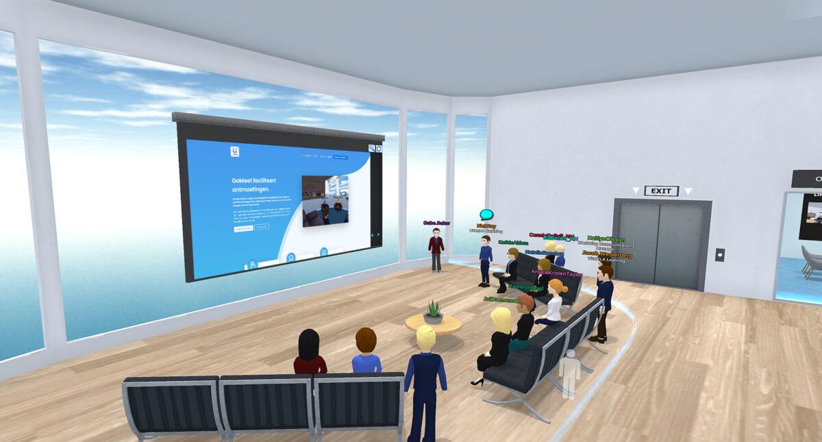 GoMeet-meetingroom met scherm en banken