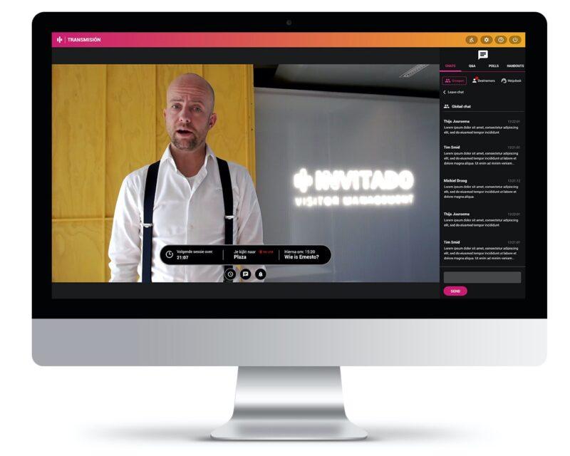 Transmisión Livestreams presentator op scherm in sessie