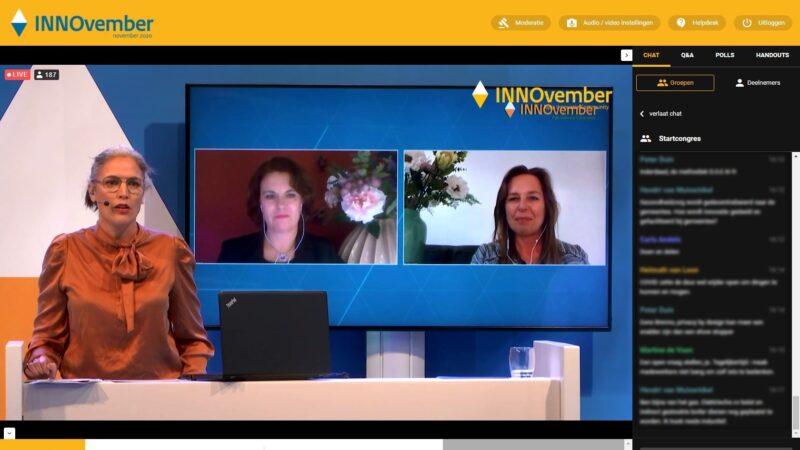 INNOvember livestream met twee vrouwen op beeld en een presentatrice (Beeld: Invitado)