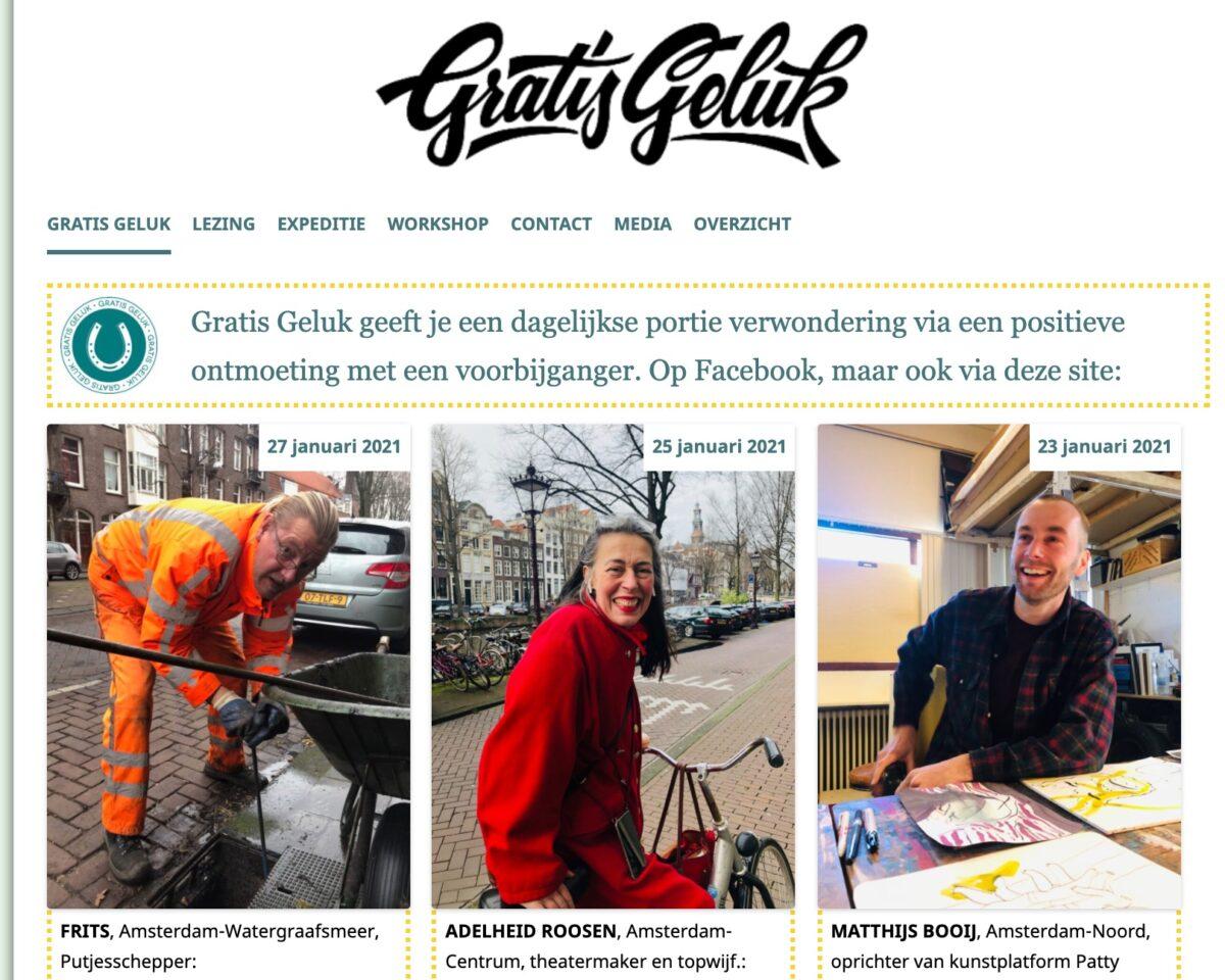 Website screenshot van Gratis Geluk