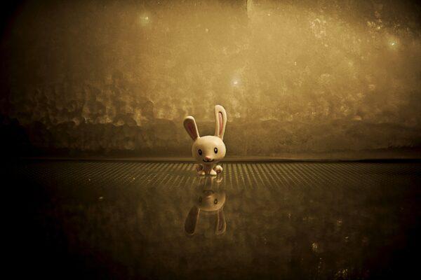 Animation van een konijn voor een plas