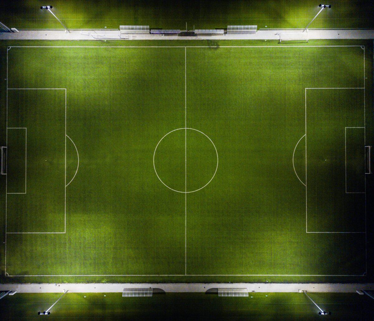 Voetbalveld van bovenaf