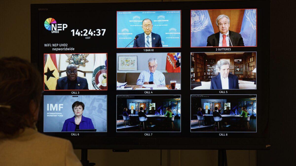 Regiescherm van NEP met wereldleiders tijdens CAS online event