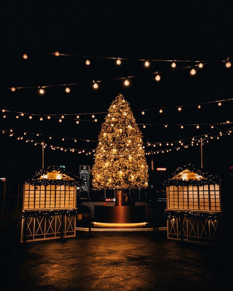 verlichte kerstboom bij huisjes